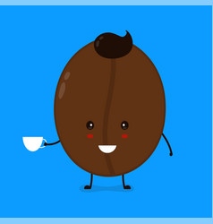 cute happy smiling coffee bean with coffee vector image vector image