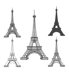 eiffel tower black silhouettes vector image