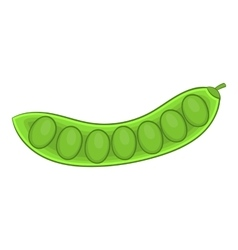 Green pea pod icon cartoon style vector image
