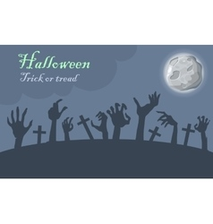 Halloween Trick or Treat Zombie Hands Appear vector image