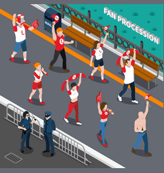 Sports fans procession isometric composition vector