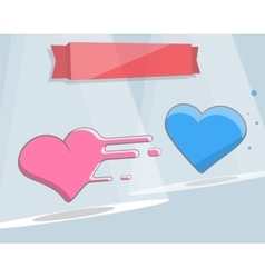 Two hearts cartoon style for vector
