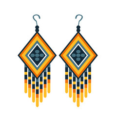 woman earrings with beads native american indian vector image vector image