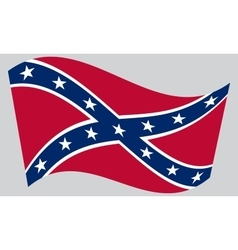 Confederate rebel flag waving on gray background vector image