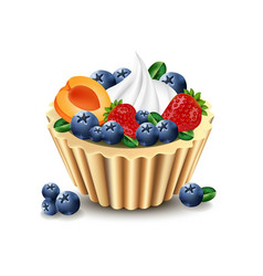 delicious cupcake with realistic fruits vector image