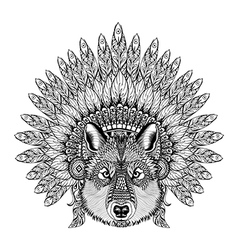 Hand Drawn Zentangle Wolf in Feathered War bonnet vector image vector image