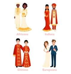 Multicultural wedding couples vector