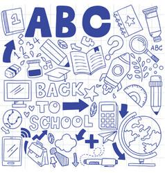 01-09-002 hand drawn set school icons vector