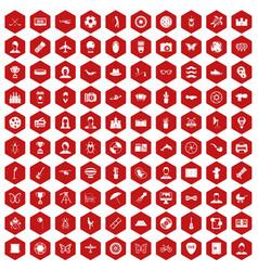 100 photo icons hexagon red vector