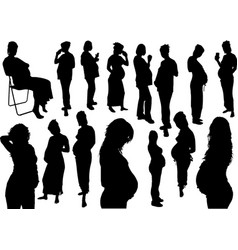 15 silhouettes of pregnant woman vector