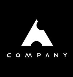 Alphabet letter a balck white logo vector