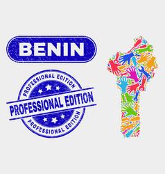 assemble benin map and distress professional vector image