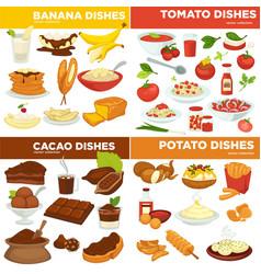 Banana and tomato cocoa and potato dishes vector