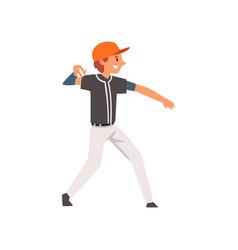 Baseball player throwing ball softball athlete vector