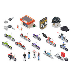 bikers isometric icons set vector image