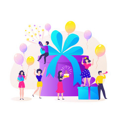 Birthday gift box cartoon happy characters vector