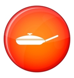 Black frying pan icon flat style vector image