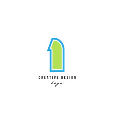 Blue green number 1 one logo icon design vector