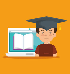 Boy wearing cap graduation with elearning book vector