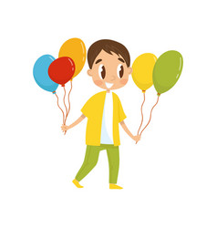 boy with balloons going to party birthday party vector image