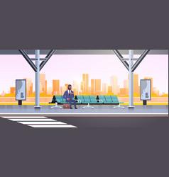 Businessman sitting modern bus stop african vector