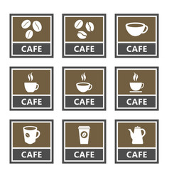 cafe icons and signs coffee shop design vector image
