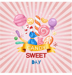 Candy sweet day confectionery retro background vector