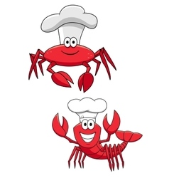 Cartoon red crab and shrimp chefs in cook hats vector