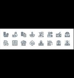 Casino line icons linear set quality line set vector