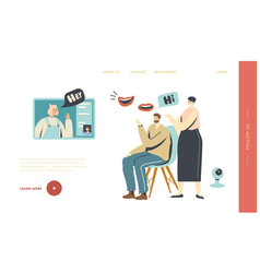 characters chat online landing page template vector image