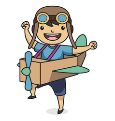 child character wearing pilot hat playing vector image