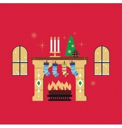 Christmas fireplace red background vector image
