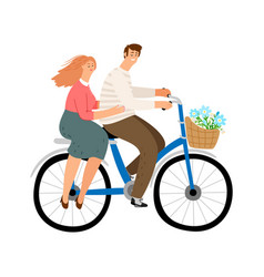 city couple cycling vector image