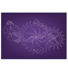 Cogwheels on a purple vector