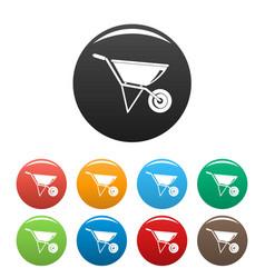 Construction wheelbarrow icons set color vector