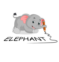 cute elephants holding pencil vector image vector image