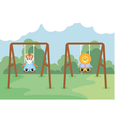cute tiger and lion in swing vector image