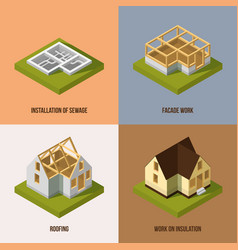 Different construction stages isometric vector