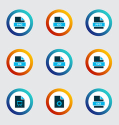 Document icons colored set with file ico file vector