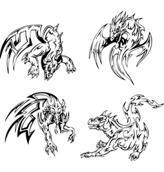 Dragon tattoos set vector image