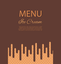 dripping chocolate ice cream flowing over waffle vector image