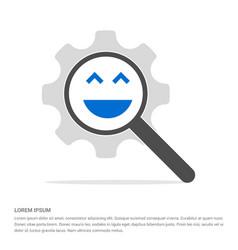 emoji icon search glass with gear symbol icon vector image
