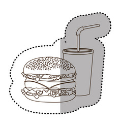 Figure hamburger and soda flat icon vector
