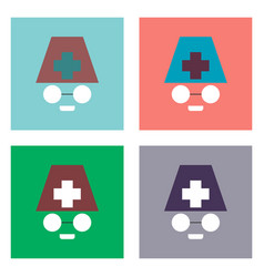 flat icon design collection doctors face vector image vector image