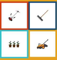 Flat icon farm set of flowerpot grass-cutter vector
