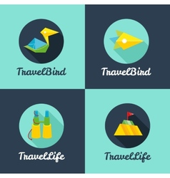 flat travel agency logo templates set vector image