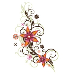 Flower summer retro orange pink vector