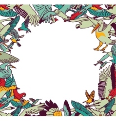 Fly birds frame border color isolate on white vector image