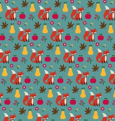 fox apples and pears pattern vector image