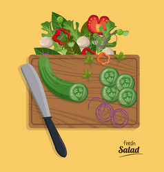 Fresh salad onion cucumber slice knife vegetables vector